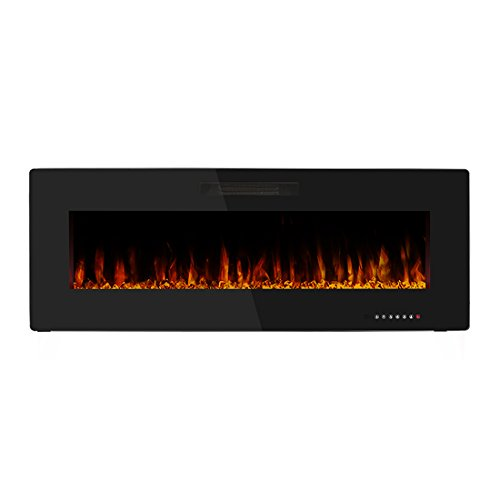 Wonderful R.W.FLAME 50u0027u0027 Portable Electric Fireplace Wall Mounted Fireplace Heater  Flat Panel,Adjustable Heater With Remote Control,750W 1500W,Black,3 Years  Warranty