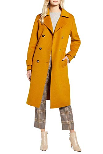 Kenneth Cole New York 17LMW446 Double Breasted Wool Blend Peacoat- Mustard - S