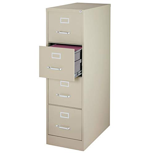 Pemberly Row 25'' Deep 4 Drawer Letter File Cabinet in Putty, Fully Assembled