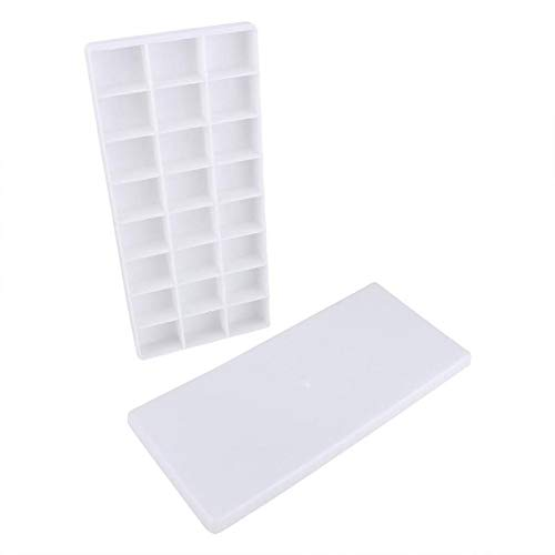 Paint Tray - White Plastic 24 Compartments Watercolor Paint Painting Tray Mixing Palette by PINBLACOM