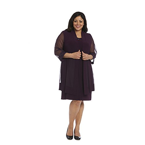 R&M Richards Mother of The Bride Short Dress Plus Size Formal with Jacket