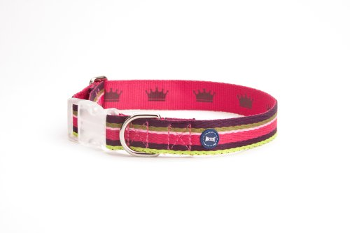 Mascot Multi Stripe Collar, Pink Multi  Lith Crown Printed on Reverse, LARGE (17