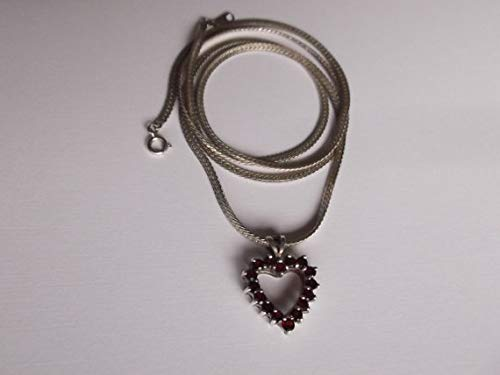 (vanyjewl VANY Vintage Silver and Garnet Heart is Red Stone Necklace with 30 Inch Silver Chain and Silver Heart with Faceted Garnets)