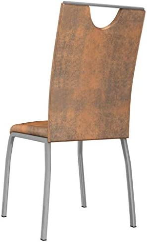 vidaXL 4X Chaises de Salle à Manger Chaises de Repas Chaises à Dîner Chaises à Manger Chaises de Cuisine Intérieur Maison Marron Suède Similicuir