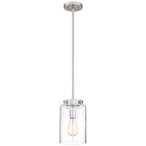 (Home Decorators Collection 1-Light Brushed Nickel Mini Pendant with Clear Glass Shade )