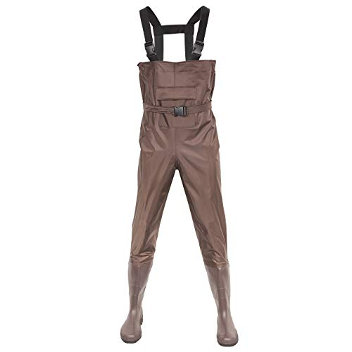 DOMICARE Chest Waders Waterproof Fishing Waders Breathable Hunting Waders 2-Ply Nylon PVC Material Waders for Men and Women Brown Size 9-13