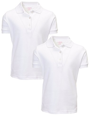 French Toast Girl's 2 Pack Uniform Short Sleeve Polo Shirts 10/12 White (Uniforms Girls School Shirts)