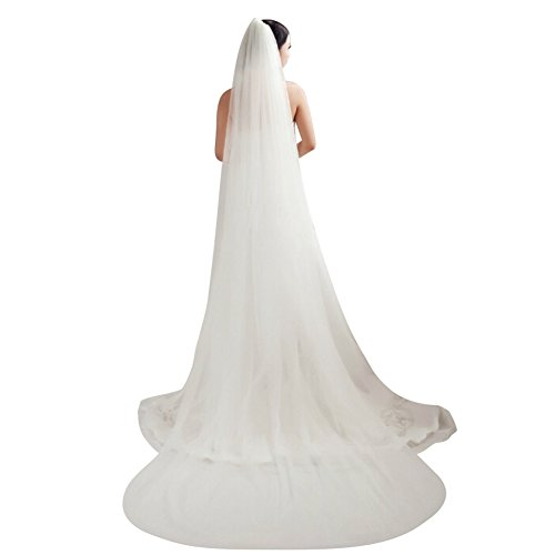 Illusions Bridal Veil - Bridal Veil 2T Tier Trailing Long Cut Edge Soft Tulle 2 Layers Wedding Veils with Comb