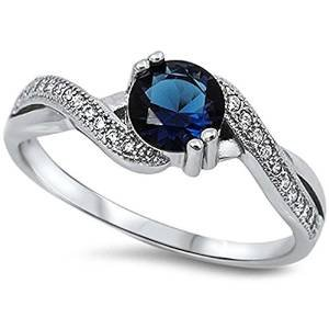 Round Simulated Blue Sapphire & White Cubic Zirconia .925 Sterling Silver Ring Size 11