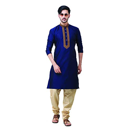 FOCIL Festival Season Special Festival Season Special Silk Blend Blue Kurta Pyjama with Embroidary for Men, 38