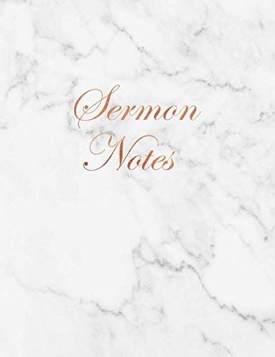 Sermon Notes: Beautiful White Marble and Gold inlay Journal for Christian Women (Marble and Gold Christian Notebooks)