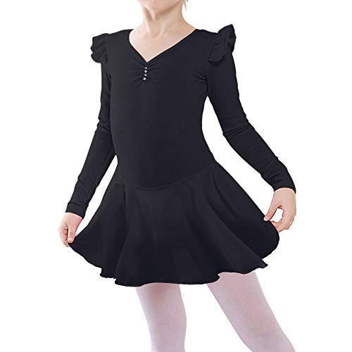 BAOHULU Girl's Skirted Long Sleeve Dance Leotards for Ballet B189_Black_L]()