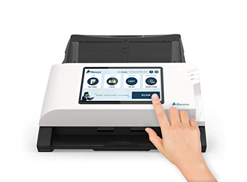 Raven Scanner Plus Color Duplex Wireless Document Scanner, Scan Direct to Cloud, Automatic Document Feeder (ADF) and LCD Touchscreen, Wi-Fi and Ethernet