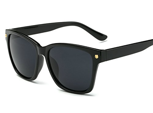 Wayfarer Sunglasses for Women Men 80s Square Black Frame Clear Reflective Lens (Black, - Big Frames Black