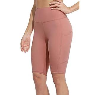 """Sociala Womens High Waist Running 12"""" Biker Shorts with Side Pockets Light Pink"""