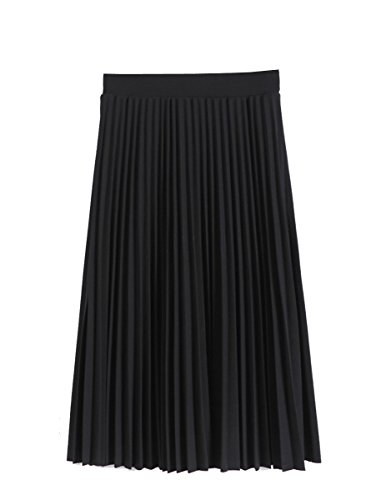 Women Pleated Fall and Winter A line Midi Skirt, Black, Small/Medium