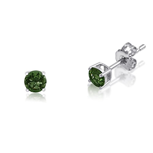 Chrome Plated Post (Genuine 3mm Brilliant Round Cut Chrome Diopside Rhodium Plated Sterling Silver Basket Set Stud Earrings)