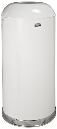 Rubbermaid Commercial R32EGLW Fire-Resistant Open Top Waste Receptacle, Round, Steel, 15 Gallon, White