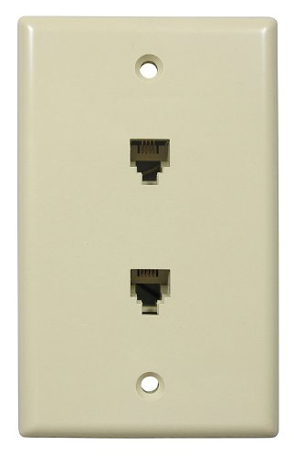 Flush Mount Duplex Smooth Wall Jack, 4 Conductor, 6 Position, Plastic, Electric Ivory, Single Gang, 2 (Duplex Jack Ivory 4 Conductor)