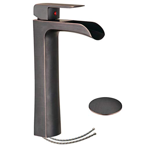 - Homevacious Bathroom Vessel Sink Faucet Tall Body Oil Rubbed Bronze Waterfall Lavatory Bath Single Handle One Hole Mixer Tap Orb Deck Mount Temporary Commercial Lead-Free