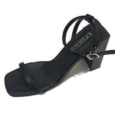 LvYuan Mujer Sandalias PU Verano Vestido Hebilla Tacón Robusto Negro Morrón Oscuro 5 - 7 cms Dark Brown
