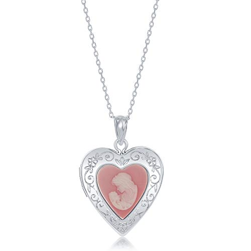 Sterling Silver Mother and Baby Pink Cameo Designed Heart Locket Necklace