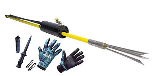 - DXDiver Automatic Pole Spear, Camo Amara 2mm Neoprene Gloves & Sopras Sub Knife Scuba Diving Freediving Spearfishing (Black Handle Teflon Blade, Large Gloves)