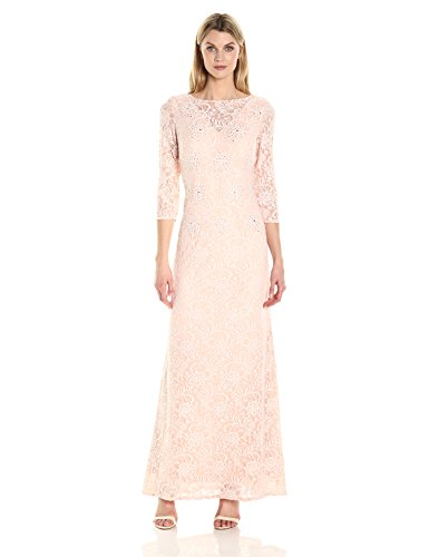 Lace Necklilne and Blush Evenings Illusion with Sleeves Dress Womens Pale Long Alex S0RwqZtq