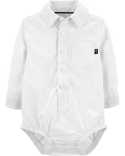 Oshkosh B'gosh Baby Boys' BUTTON-FRONT OXFORD BODYSUIT, White (18 Months) (Baby Oxford Bodysuit)