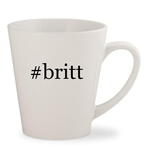 #britt - White Hashtag 12oz Ceramic Latte Mug Cup