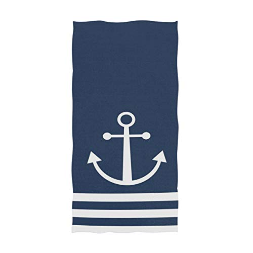 Naanle Nautical White Stripe Anchor Navy Blue Highly Absorbent Soft Large Decorative Guest Hand Towel for Bathroom, Hotel, Gym and Spa (16 x 30 Inches) (Bath Anchor Towels)
