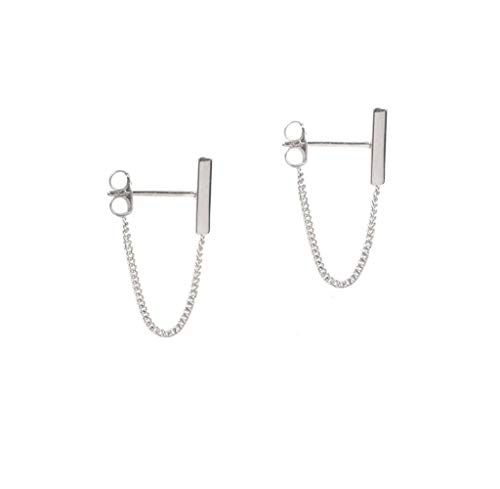 Minimalist Bar Earrings with Chain Dangle Earrings 925 Sterling Silver Stud Earrings
