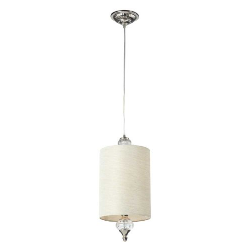 picture of Elk 31302/1 Dalton 1-Light Pendant White Fabric Shade Polished Nickel, 8 by 18-Inch, Polished Chrome Finish