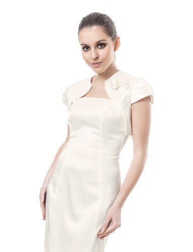 OssaFashion Womens Wedding Evening Party Bridal Satin Bolero Cocktail Jacket Shrug Cap Sleeve - Satin Wedding Bridal Bolero