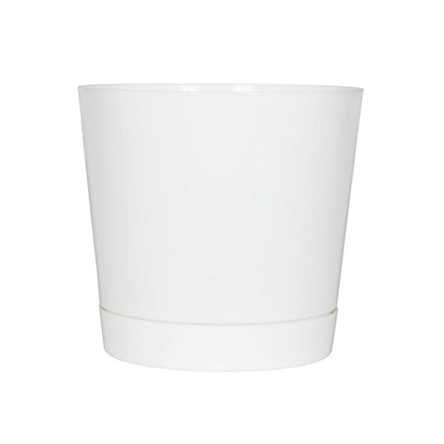Full Depth Round Cylinder Pot, White, (Indoor Planter Plant Pot)