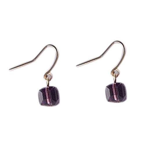 Aulley Women Rhinestone Cube Shape Ear Pin Girl Alloy Sqaure Stud Earring Ear Jewelry Birthday