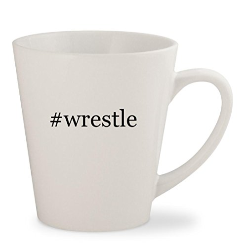 #wrestle - White Hashtag 12oz Ceramic Latte Mug Cup (Tna 360 Xbox Wrestling)