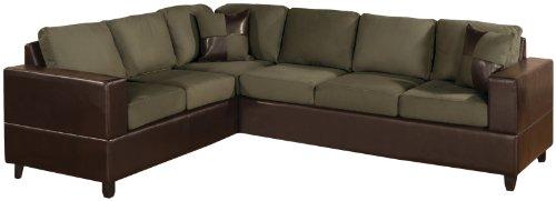 Bobkona Trenton 2-Piece Sectional Sofa with Accent Pillows, Sage (Set Sofa Sage Sectional)