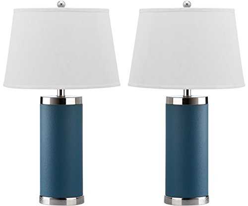 Safavieh Lighting Collection Leather Column Blue 26-inch Table Lamp (Set of 2)