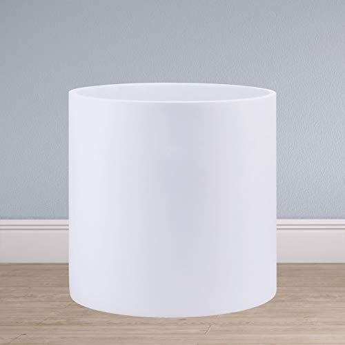 Indoor 10 Inches Round Modern Planter Pot - Matte White - Easy Grow Fiberglass Resin Planter with Drainage Hole and Plug - by D'vine Dev