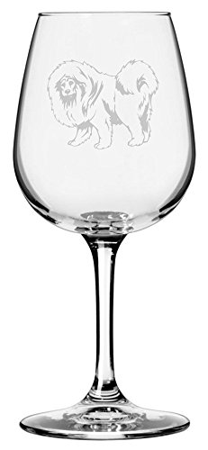 Tibetan Mastiff Dog Themed Etched 12.75oz Libbey Wine Glass