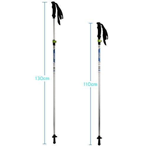 AGPtek Folding Ultralight 7075 Aluminum Trekking Pole Collapsible Alpenstocks, Adjustable Hiking Stick telescoping Climbing Stick with EVA Foam Handle for Travel Backpacking/ Hiking / Walking(2 pcs)