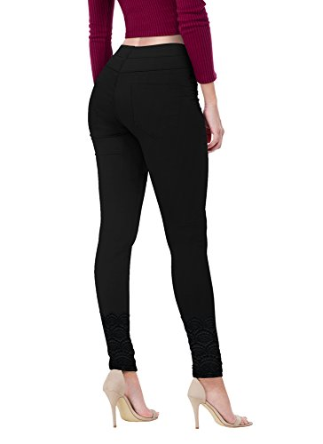 Women's Super Comfy Stretch Lace Bottom Skinny Jeans P43876SK Black 1 (Lounge Pants Jeans)