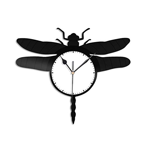 VinylShopUS - Dragonfly Vinyl Wall Clock Unique Design Gift for Animals Lovers   Nursery Home and Kids Room Decoration
