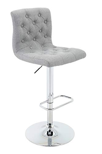 - Brage Living Adjustable Height Tufted Upholstered Barstool with Footrest, Light Grey