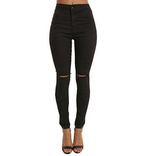 Skinny Nero Donna Matita Jeans Sexy Slim Pantaloni Stretch Evedaily Scarni qfv6ap