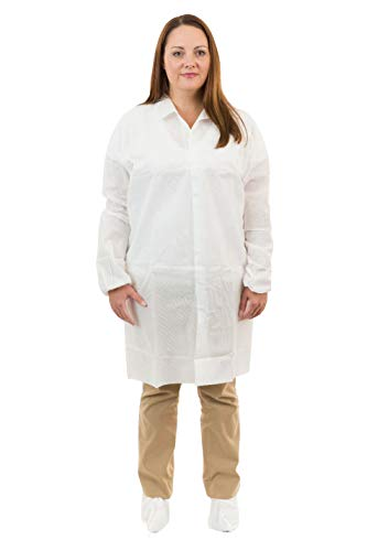 International Enviroguard Disposable White SMS Lab Coats | Medical | Labs (Standard Collar, Elastic Wrist) (4XL, 50 per case)