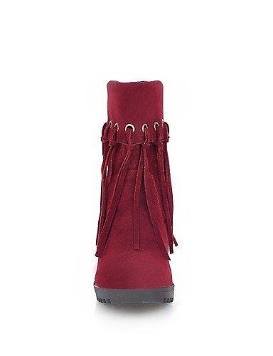 Mujer La Ante Beige A Negro 5 Eu39 us8 Xzz Vestido Botas Redonda De Zapatos Eu36 Beige Uk6 Tacón Cn39 Punta Uk3 Moda Cn35 Sintético Casual Rojo us5 Robusto Red 5 zATqOEw