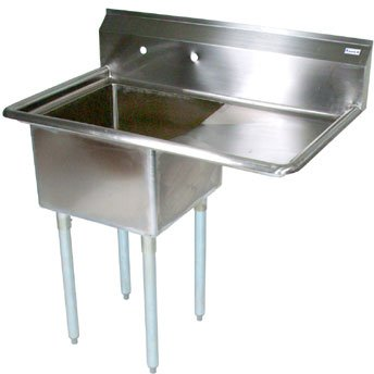 John Boos E Series Stainless Steel Sink, 12'' Deep Bowl, 1 Compartment, 18'' Right Hand Side Drainboard, 38-1/2'' Length x 23-1/2'' Width by John Boos