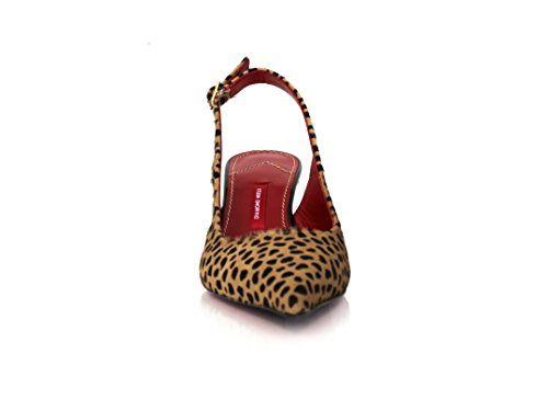 Safari Pointy mit Fersenriemchen Breiter Absatz 5cm Leopard Fell